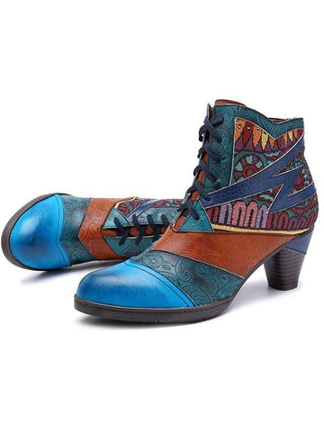 Stitching Jacquard Leather Boots