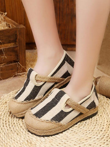 Linen comfortable breathable sandals canvas one pedal lazy shoes