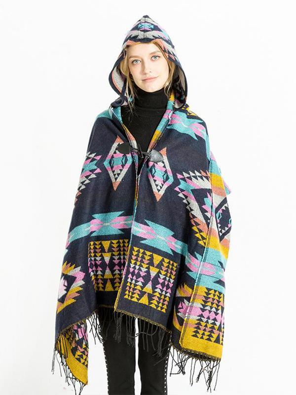 5 Style National hooded cape shawl imitation cashmere tourist scarf