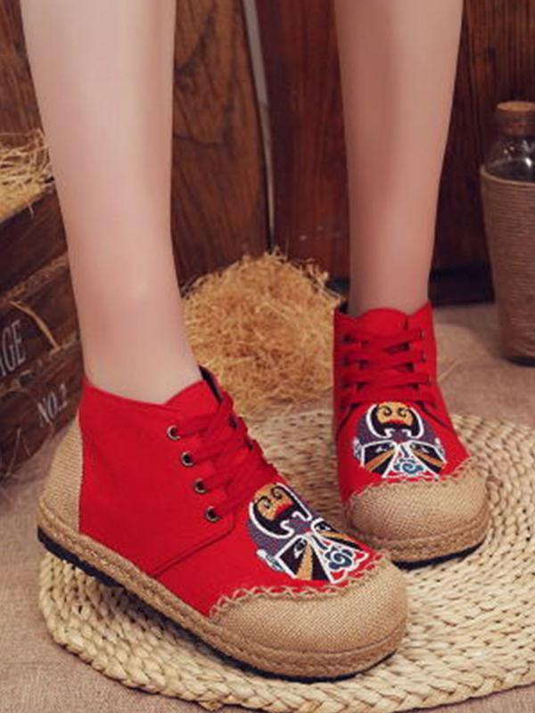 Ethnic style handmade straw flat round linen comfortable breathable shoes