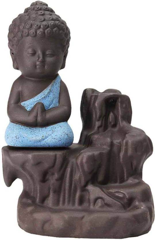 Buddha statue Smoke Backflow Cone Incense Holder Showpiece With 10 Smoke Backflow Scented Cone