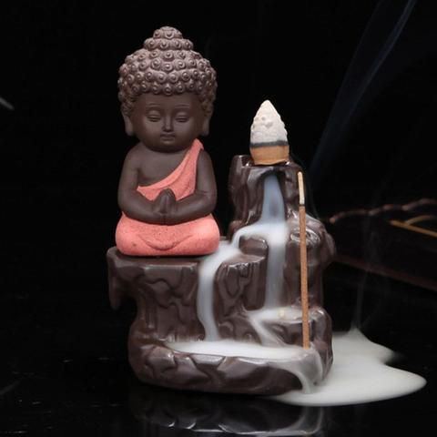Buddha statue Smoke Backflow Cone Incense Holder Showpiece With 10 Smoke Backflow Scented Cone for