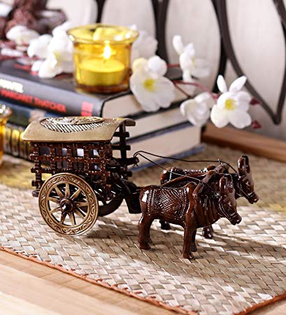 Antique Finish Village Bullock Cart Brass Showpiece (16 cm x 9 cm x 8, Brown)