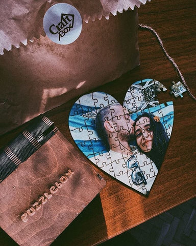 Personalized Wooden Jigsaw Puzzle | Heart Shaped 52 Pieces