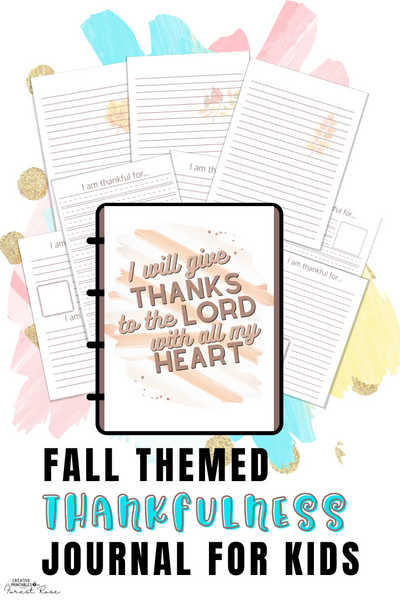 Fall Themed Thankfulness Journal Pages for Kids