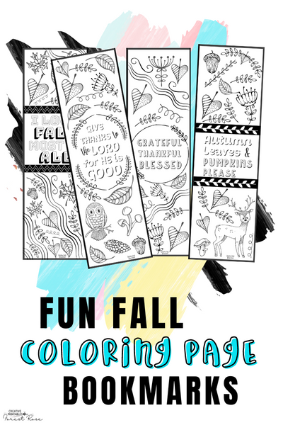 Printable Fall Coloring Page Bookmarks