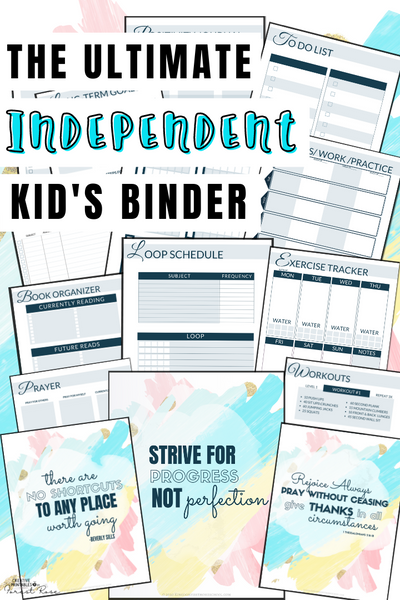 Ultimate Independent Kid's Planner Binder (222 pages)