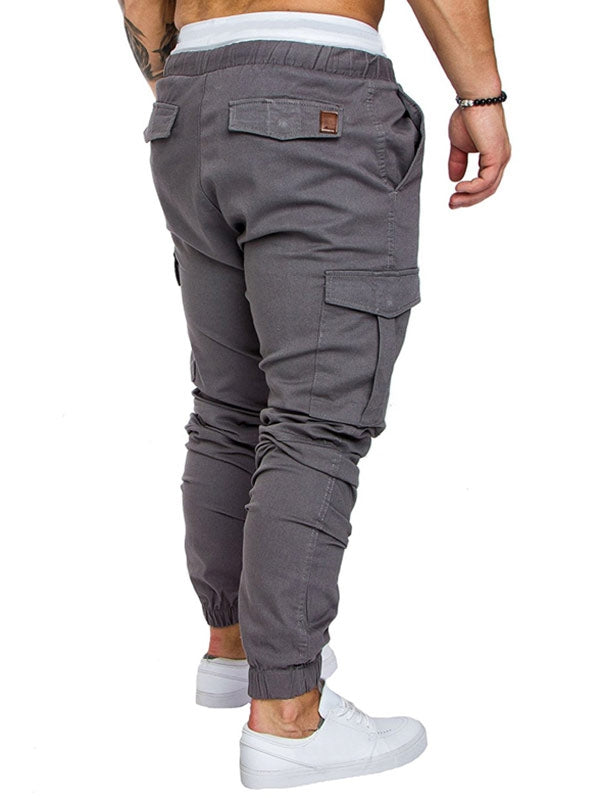 Side Pockets Elastic Cuffed Jogger Pants
