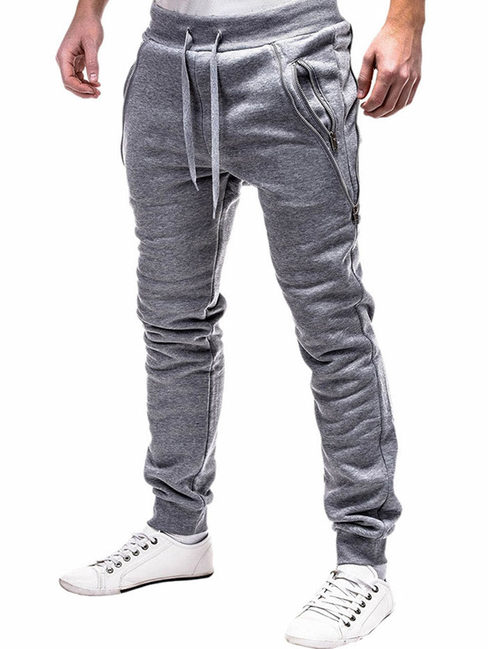 Zip Embellished Casual Sport Jogger Men Pants