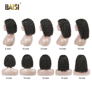 BAISI Curly Lace Front Human Hair Wigs With Baby Hair Indian Virgin Hair Short Curly Bob Wigs Lace Front Human Hair Wigs
