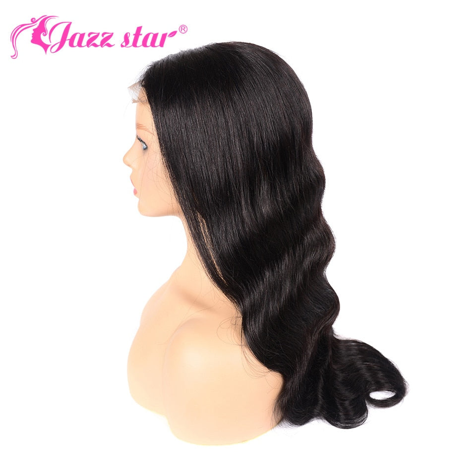 Brazilian 4x4 Lace Closure Wig Body Wave Wig Human Hair Wigs Pre-Plucked with Baby Hair Non-Remy Jazz Star Hair 150% Density