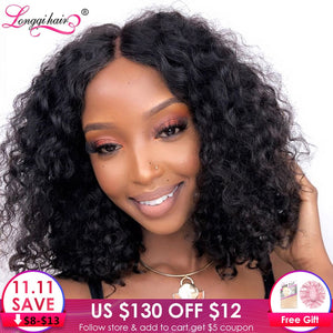 Longqi Hair Curly Bob Wig 8 - 14 Inch High Ratio Brazilian Remy 13X4 Lace Front Wigs Short Human Hair Wigs for Black Women