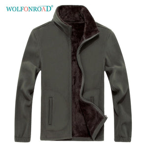 WOLFONROAD Winter Thermal Fleece Jacket Hiking Camping Outdoor Sport Jacket Men Thick Coats Skiing Hunting Plus Size 8XL Jackets