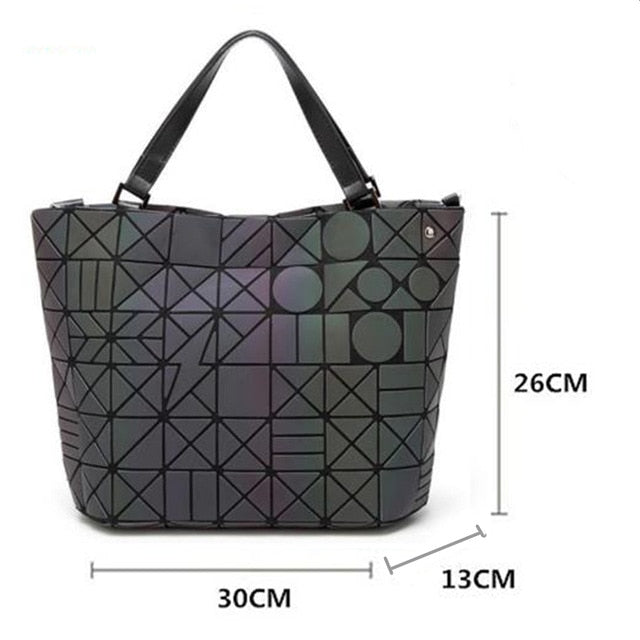 Women's Diamond Geometric Deformation Tote Bag Irregular Folding Shoulder Bag Holographic Laser Luminous Bucket Bag