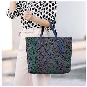 Women's large-capacity holographic laser handbag irregular geometric luminous girl shoulder bag laptop office big bag