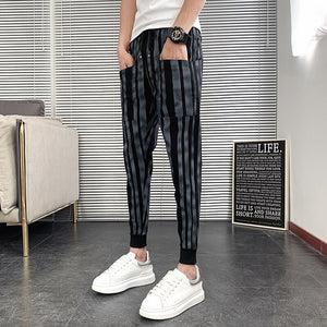 Summer Breathable Casual Pants Men Fashion 2020 Front Pockets Slim Fit Men Striped Pants All Match Hip Hop Joggers Men Trousers