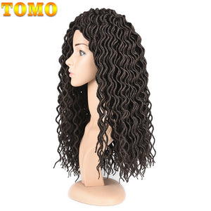 TOMO Faux Locs With Curly Ends 24strands/Pack Ombre Synthetic Kanekalon Braiding Hair Extensions Brown Bug 18inch Dreadlocks