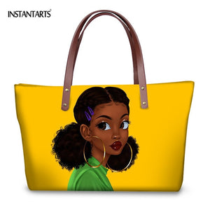 INSTANTARTS African Black Queen Arts Design Fashion Women Large Tote Bags Handbags for Female Shopping Brand Designer Beach Bags