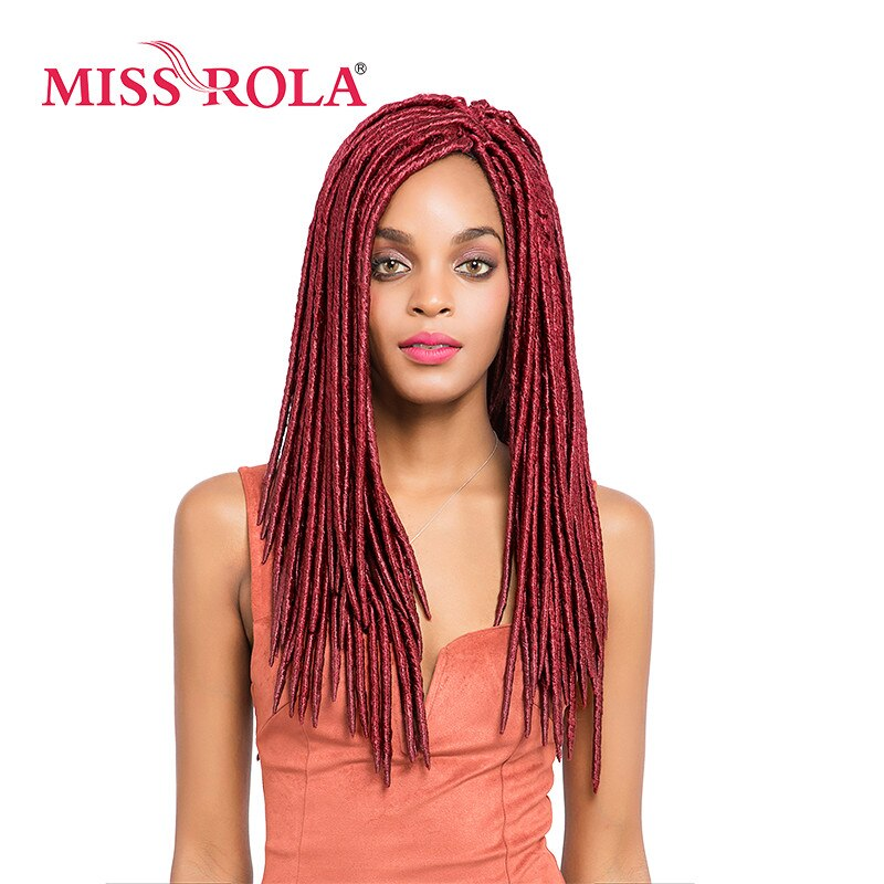 Miss Rola 18inch Faux Locs Synthetic Braiding Hair Extensions BUG# Kanekalon Low Temperature Fiber Crochet Braids Hair 5pc a lot