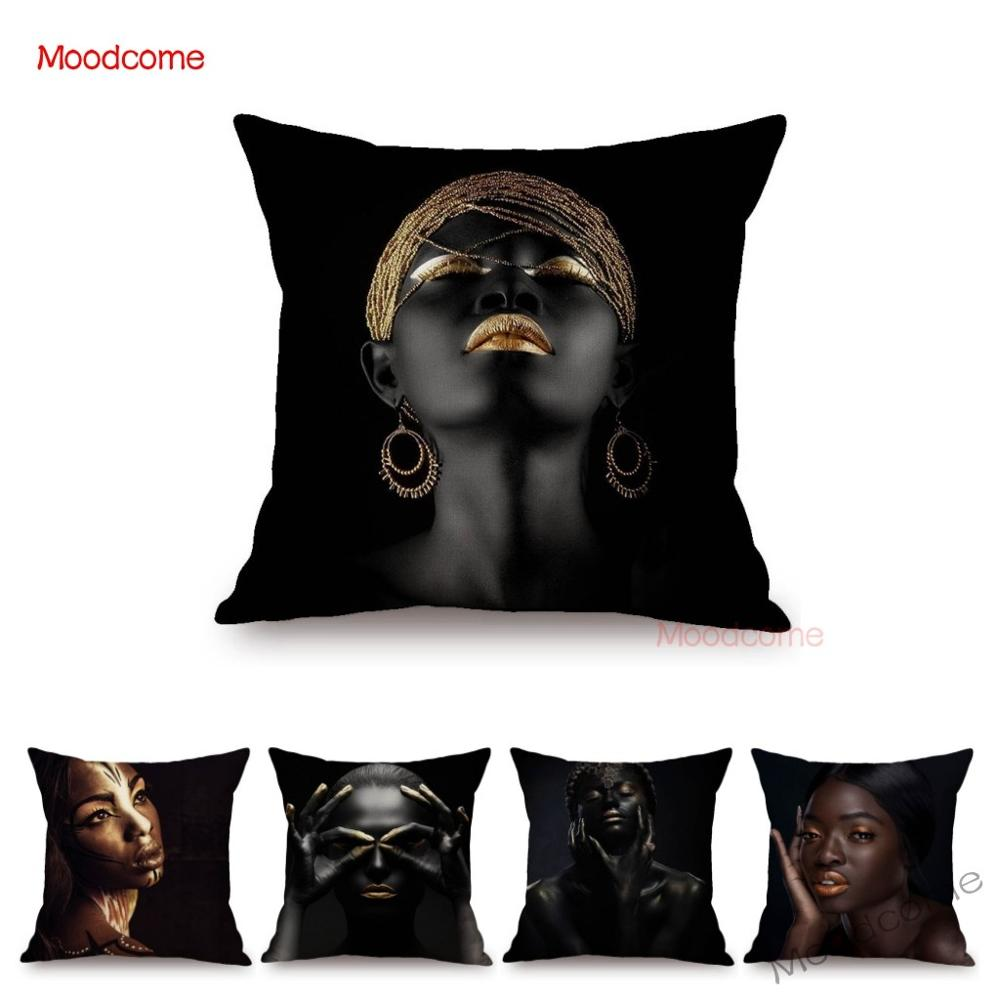 Fashion African Black Woman Girl Luxury Elegant Home Decorative Sofa Pillow Case Beauty Salon Decoration African Cushion Cover