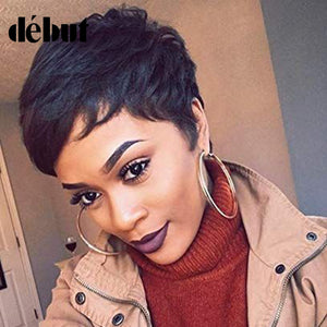 Debut Wigs For Women Straight Wavy Human Hair Wigs Pixie Cut Short Wig Human Hair Ombre Wavy Wig Free Shipping