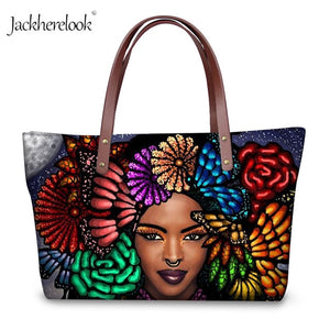 African Queen Black Girl Women Handbags Art Exotic Ethnic Arfo Print Large Tote Bag for Women Vogue Purse with Handbag Set 2021