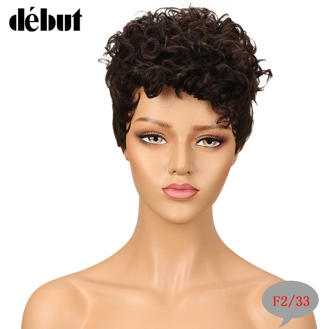 Debut Short Pixie Cut Human Hair Wigs Brazilian Curly Remy Human Hair Wig For Black Women Cheap Brown Ombre Full Wigs 99J Red