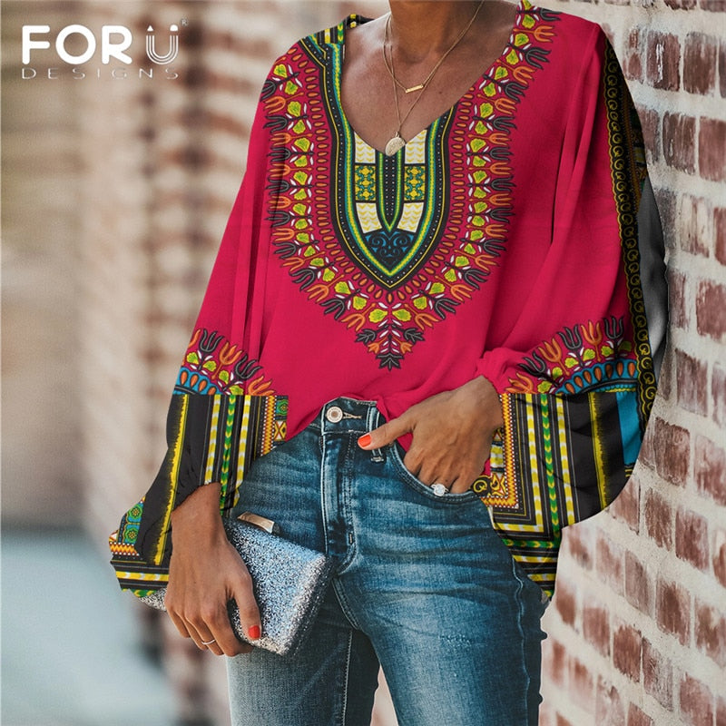 FORUDESIGNS Large Size 2020 Women Blouse and Tops African Pattern Casual Loose Long Sleeve Shirt V-neck Female Clothing