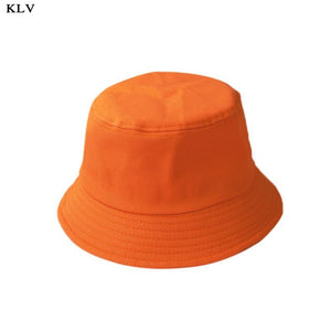 Korean Adult Kids Summer Foldable Bucket Hat Solid Color Hip Hop Wide Brim Beach UV Protection Round Top Sunscreen Fisherman Cap