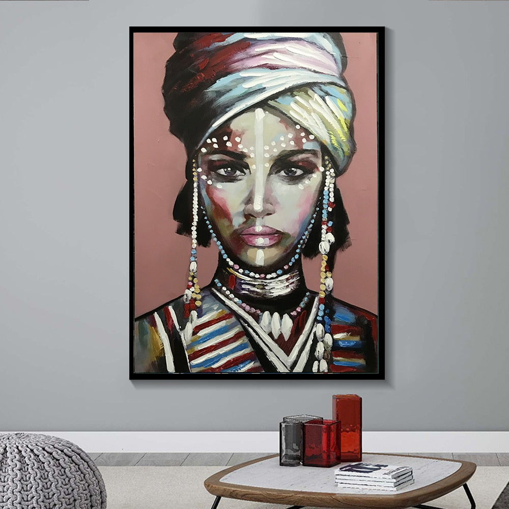 MUTU Dress up African Woman Cuadros Canvas Painting Posters and Prints Scandinavian Wall Art Picture for Living Room Home Decor
