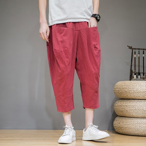 Baggy Cross Pants Men 2020 New Cotton Linen Calf Length Pants Harem Pants Korean Style Hip Hop Streetwear Men Trousers