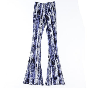 Holiday Blue Tie-dye Vertical Stripe Print Flare Pants Women BOHO Tribal African Hippie Pants Bell Leggings Bottom Long Trousers