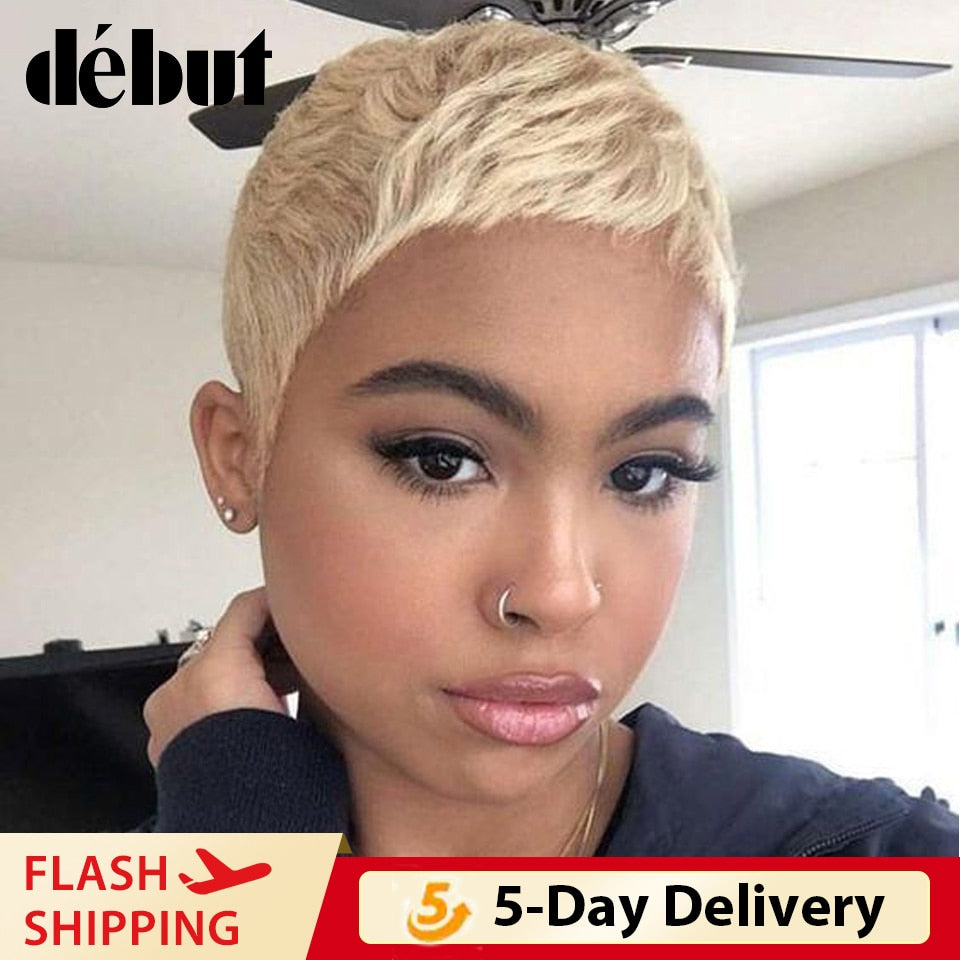 Debut Pixie Cut Human Hair Wigs Brazilian Short Straight Remy Human Hair Piexe Cut Wigs Cheap 613 Blonde Human Hair Full Wigs
