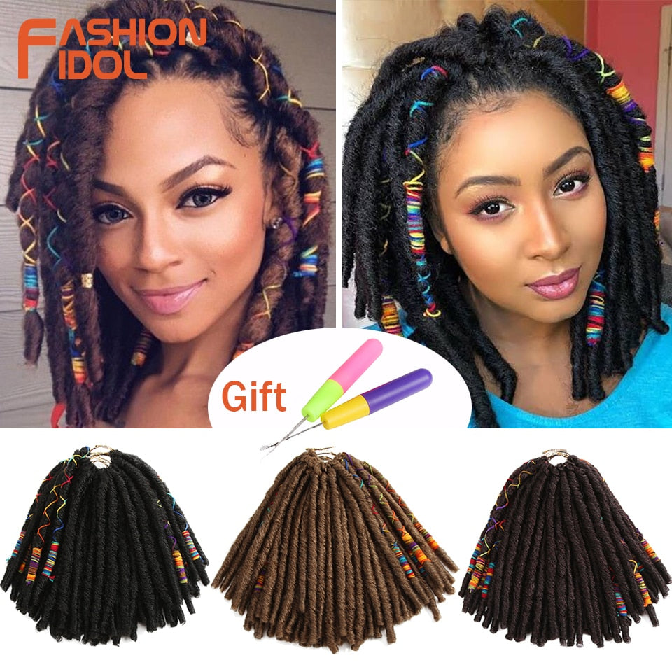 FASHION IDOL 12Inch 12Strands Faux Locs Crochet Braids Hair Synthetic Braiding Soft Crochet Hair Extensions Burgundy Black Fiber