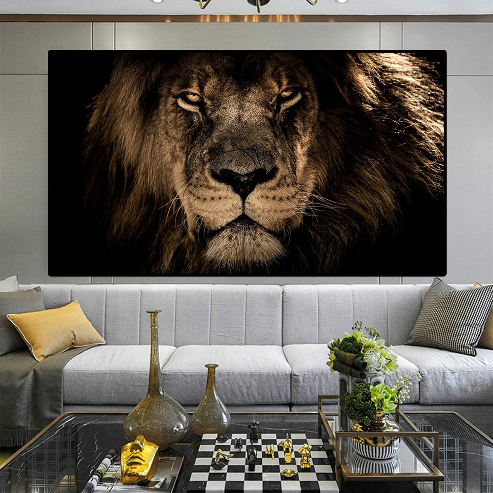 HUILIN African Large Lions Face Canvas Paintings on the Wall Art Posters And Prints Animals Lions Art Pictures For Living Room