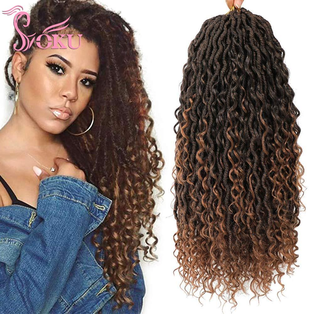 SOKU Goddess Crochet Locs Hair Braiding Faux Locs River Hair Extension Curly Synthetic Bouncy Hair Twist Braids Pre Looped