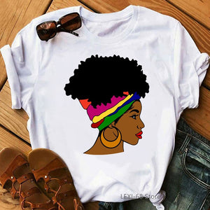 rainbow band black girl print women's tshirts fashion african dope melanin shirts funny graphic casaul black live matter t-shirt