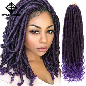 Synthetic Goddess Faux Locs Curly Crochet Braids Hair Ombre River Locs Braiding Hair Extension 16 20inch Soft Natural Braid