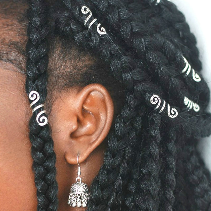 Vintage silver adjustable viking hair dread Braids dreadlock beard Beads cuffs clips for Hair Rings women men accessories