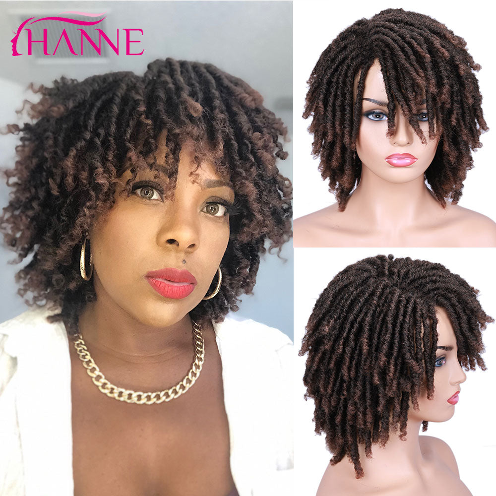 HANNE Short Dreadlock Wig Black/brown/red Synthetic soft faux locs Wigs Braiding Crochet Twist Hair Wigs For Black Women/Men