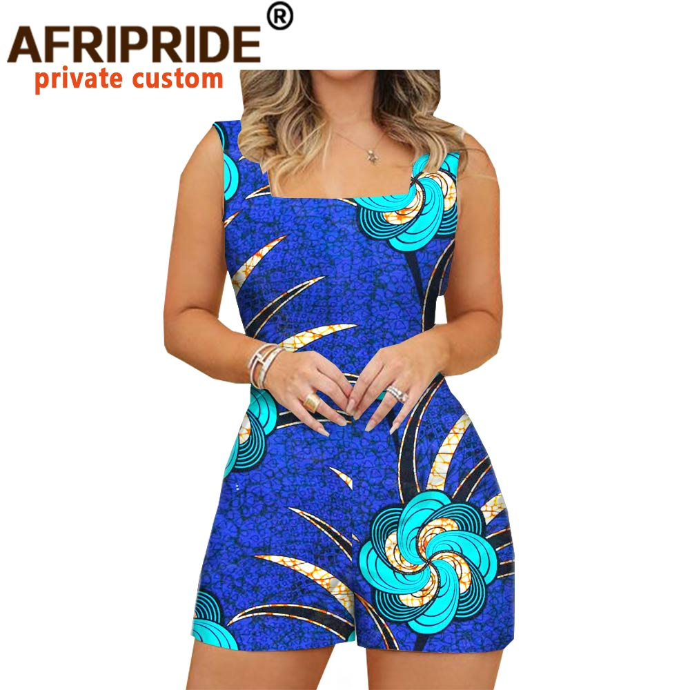 2020 african fashion playsuits for women AFRIPRIDE tailor made plus size prime sleeveless women casual cotton playsuits A1929003