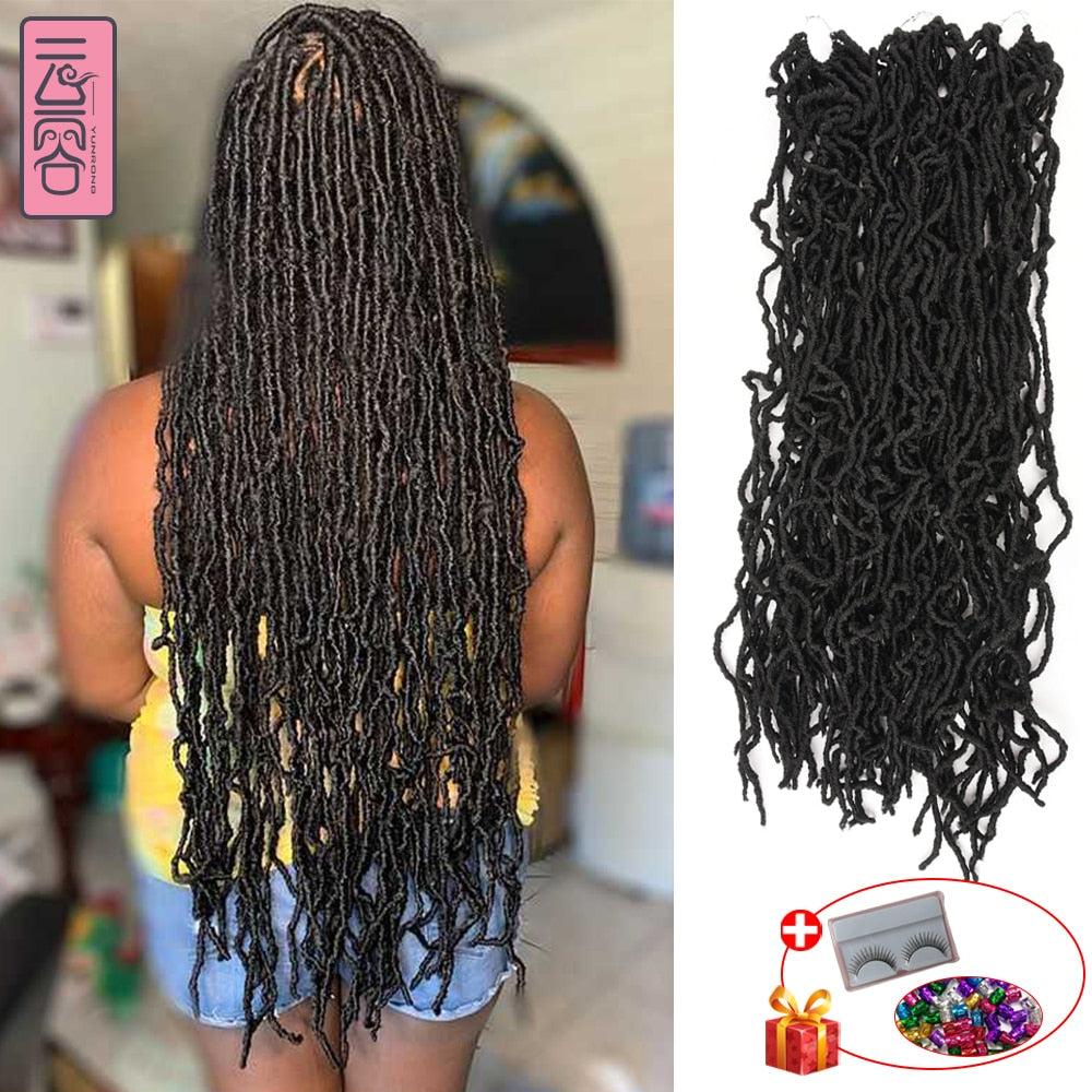 YunRong Nu Bian Crochet Hair 36 Inches Ombre Faux Locs Color  Extension Synthetic Braiding Hair For Women Low Temperature Fiber