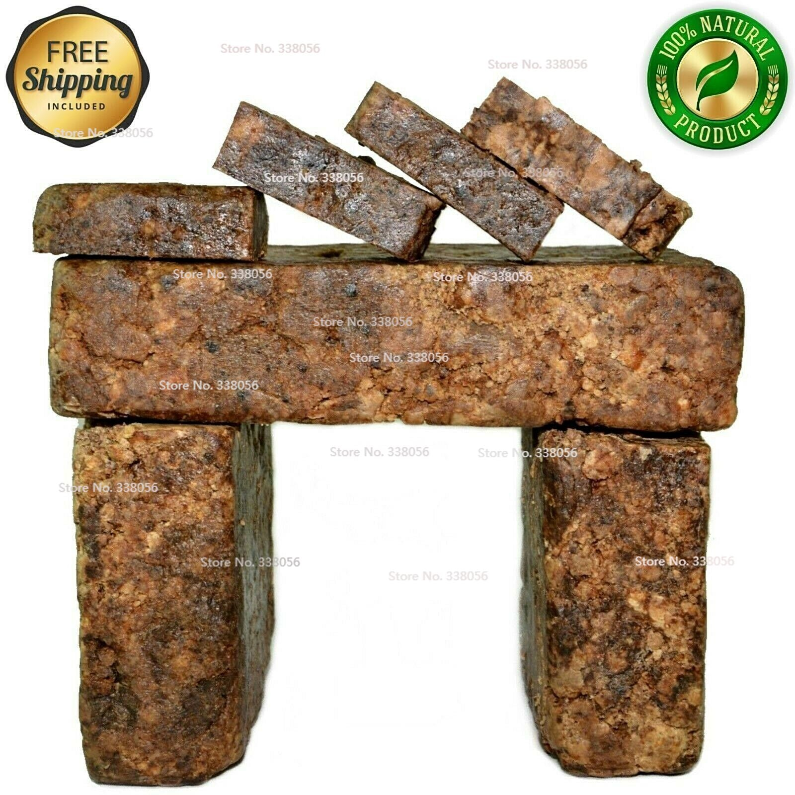 Raw African Black Soap Organic 4 oz Bar 100% Pure Unrefined Natural From Ghana