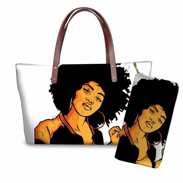 WHEREISAR 2019 Totes ladies Handbag African Women Black Art Prints Purse Ladies Large Messenger Shoulder Bags Women Handbags