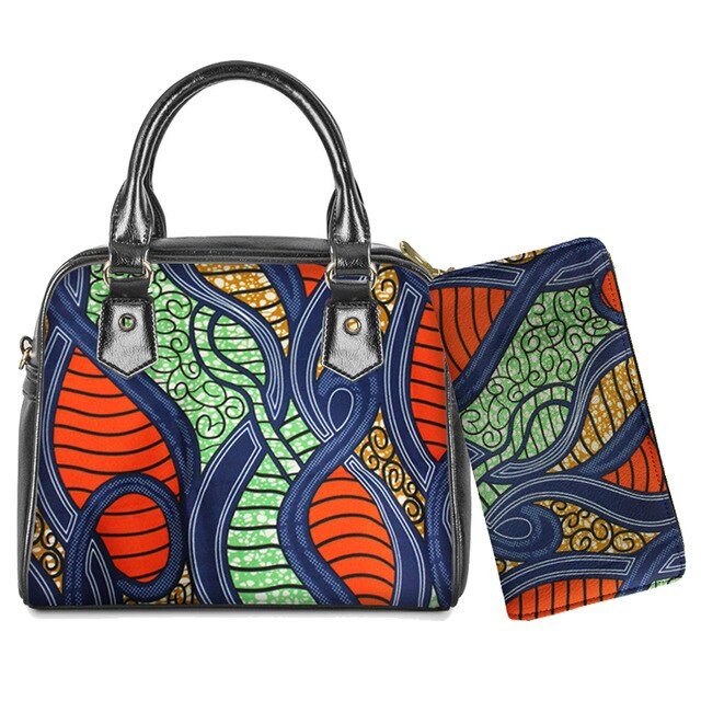 WHEREISART African Style 2Pcs Ladies Shoulder Bag PU Leather Top-Handle Handbag Women Casual Crossbody Bag with Long Wallet