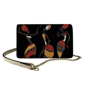 FORUDESIGNS African Art Leather Flap Crossbody Bags for Female Elegant Black Women Printing Sling Shoulder Bag Girl Portable Bag