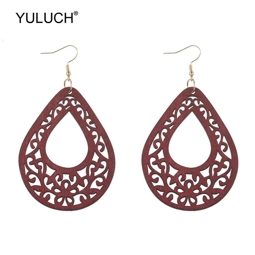 YULUCH 2019 Fashion Personality Wooden Water Drop Hollow Flower Earrings Ethnic African Statement Jewelry Accessories For Lady