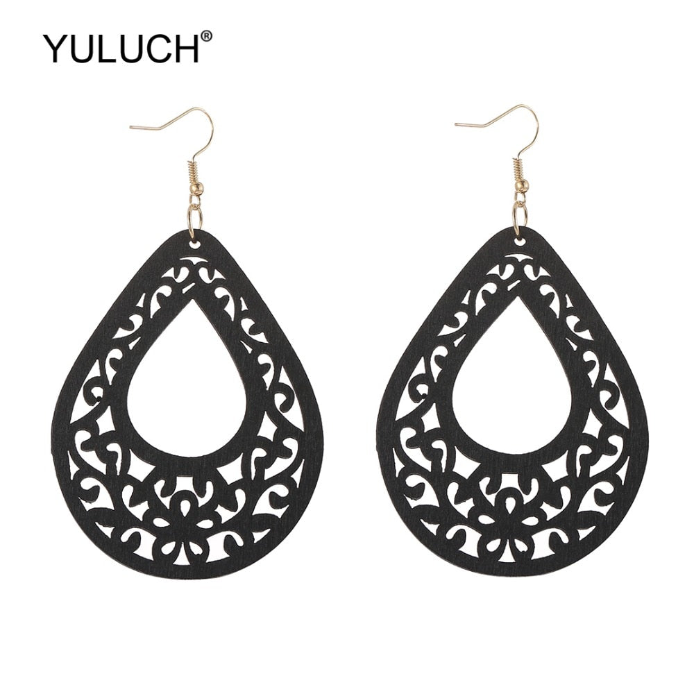 YULUCH 2019 Fashion 4 Colors Wooden Hollow Flower Drop Statement Earrings Ethnic African Women Wood Earrings Jewelry Accessories