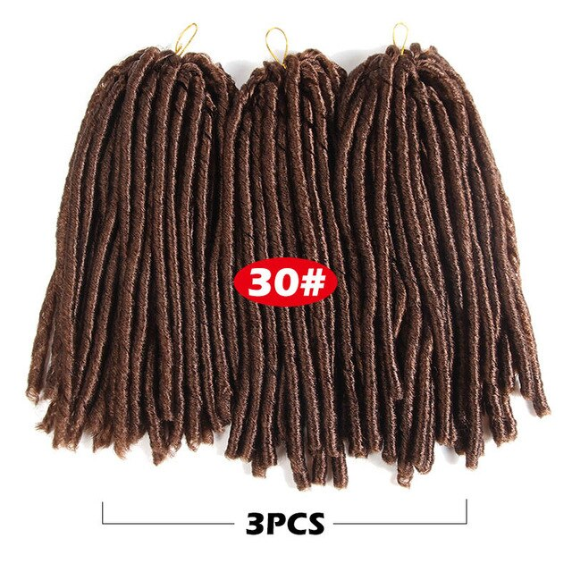 Soft Dread Locks Crochet Braids 14 inch Straight Hair Extensions 30rootsFaux Locks Crochet Braids Black Synthetic Braiding Hair