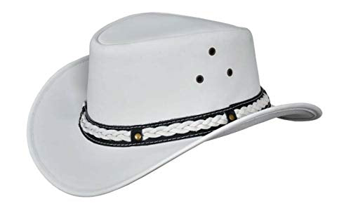 Raheem Traders Men's White Genuine Leather Western Cowboy Hat